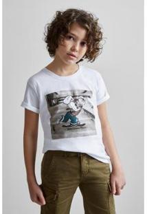 Camiseta Masculina Infantil Estampada Pf Mini Sk8 Poppeye Reserva Mini - Masculino-Off White