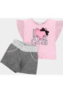 Conjunto Infantil Quimby Cats Feminino - Feminino-Rosa