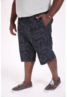 Bermuda Kauê Plus Size Sarja Estampada Masculina - Masculino-Azul Petróleo