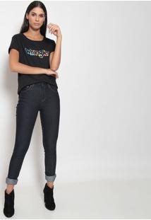 """Camiseta """"Wrangler®"""" Com Fendas - Preta & Azulwrangler"""