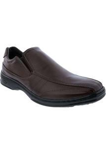 Sapato Social Valenca Com Pespontos Marrom Marrom
