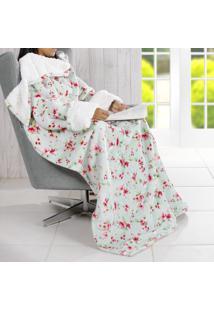 Manta Cobertor Tv Com Mangas Efeito Pele De Carneiro Toque Flannel - Eloah