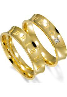 Aliança Noivado De Ouro Côncava Com Diamantes - As0913 + As0914