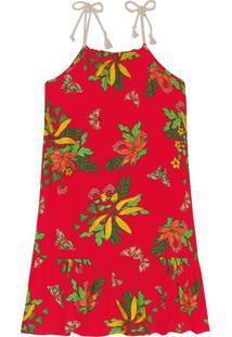 Vestido Infantil Floral Rovitex Kids Vermelho