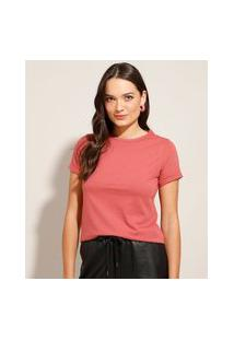 Camiseta Básica Manga Curta Dobrada Decote Redondo Rosa Escuro