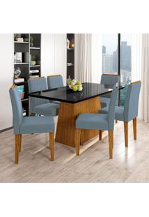 Conjunto De Mesa De Jantar Com Tampo De Vidro Bárbara E 6 Cadeiras Ana Animalle Preto E Azul