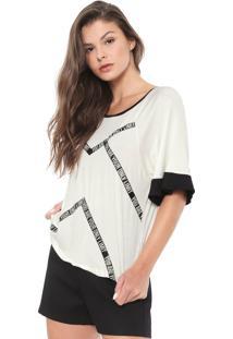 Camiseta Morena Rosa Lettering Off-White/Preta
