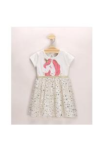 Vestido Infantil Unicórnio Com Tule Manga Curta Off White
