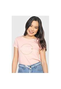 Camiseta Roxy Circle Logo Rosa