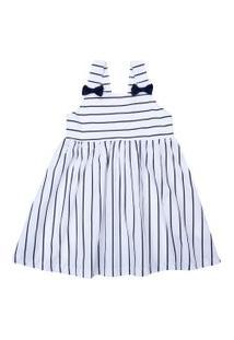 Vestido Infantil Com Alças - Listrado - Branco - Algodão E Elastano - Minimi