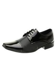 Sapato Social Verniz Torani Com Cadarço Brilhoso Envernizado Preto
