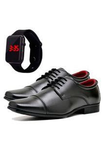 Sapato Social Elegant Com Relógio Led Dubuy 807La Preto