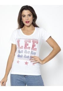 Camiseta Estrelas- Branca & Vermelha- Leelee
