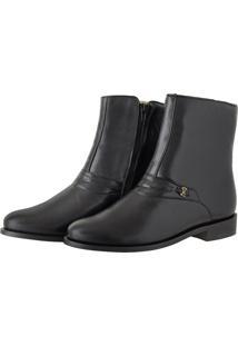 Bota Pessoni Boots & Shoes Cano Alto Social Em Couro Preto - Kanui