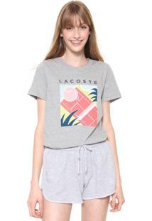 Camiseta Lacoste Estampada Cinza