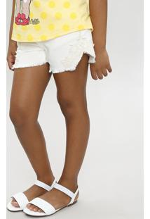 Short Color Infantil Com Renda Off White