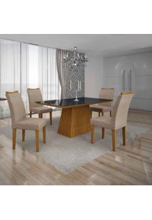 Conjunto De Mesa Com 4 Cadeiras Pampulha Iv Imbuia Mel E Bege