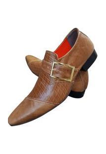 Sapato Masculino Italiano Social Executivo Em Couro Art Sapatos Marrom Cobra