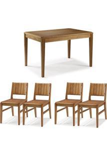 Conjunto Mesa Jantar Tampo Madeira + 4 Cadeiras Salvador Assento Madeira - 60475 - Sun House