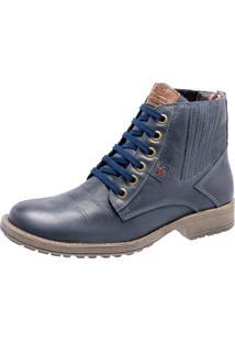 Bota Em Couro Mega Boots 1004 Azul Marinho