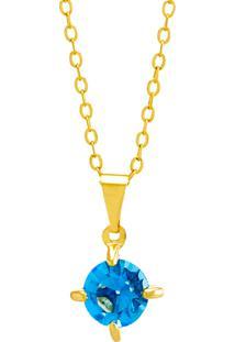 Gargantilha Horus Import Ponto Luz Aquamarine Banhada Ouro Amarelo 18 K - 1061104