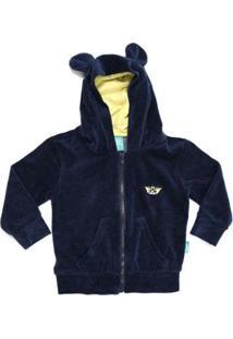 Jaqueta Bebê Jokenpô Plush Com Capuz Orelhas Masculino - Masculino-Marinho