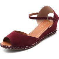 a0f924146 Sandália Salto Anabela Vinho feminina   Shoes4you