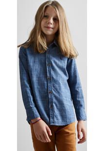 Camisa Mini Pf Textura Flame Reserva Mini Azul
