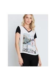 Camiseta Kessey Gola V Fundo Preto