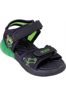 Sandália Infantil Verde Com Velcro E Luz