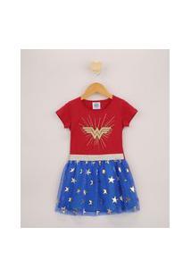 Vestido Infantil Mulher Maravilha Com Tule E Capa Removível Manga Curta Vermelho