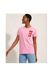 """T-Shirt De Algodão """"Uh La La"""" Flocada Manga Curta Decote Redondo Mindset Rosa"""
