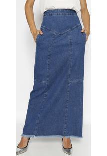 Saia Jeans Longa Com Recortes- Azul- M. Officerm. Officer