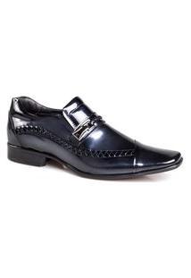 Sapato Social Rafarillo Masculino Couro Verniz Bico Quadrado Cinza