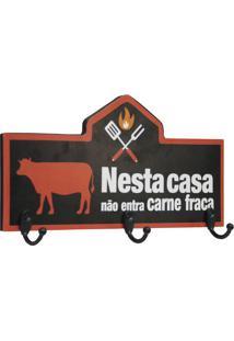 """Porta Chaves """"Não Entra Carne Fraca""""- Vermelho & Preto"""