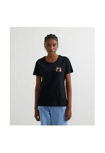 Camiseta Manga Curta Com Tico E Teco No Bolso | Tico & Teco | Preto | Gg