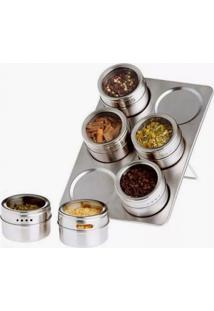 Porta Condimentos Magnético Com 06 Unidades Cozinha