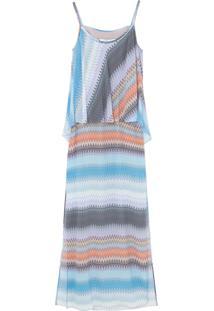 Vestido Longo Multicores Ateen - Azul
