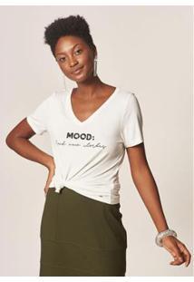 Camiseta Mob Malha Bordada Mood Feminina - Feminino-Off White