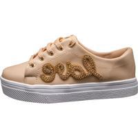 09bdfacc443 Tenis Hope Shoes Pedraria Love Bege