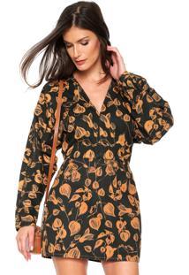 Vestido Lança Perfume Curto Decote Preto/Caramelo