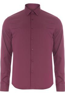 Camisa Masculina Casual Slim - Vinho