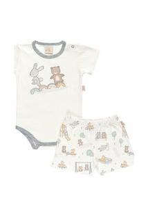Pijama Curto Baby Em Suedine - Anjos Baby Cinza Claro Preto
