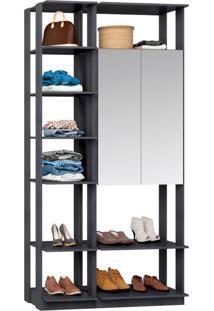 Guarda-Roupa Solteiro Modulado Clothes I Com Espelho 2 Pt Espresso