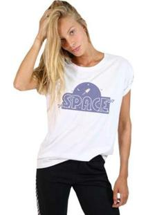 Camiseta Joss Feminina Estampada Space - Feminino-Branco