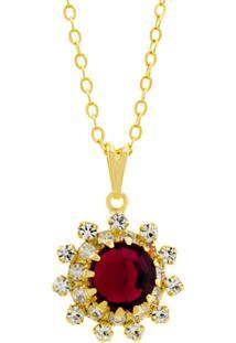 Gargantilha Horus Import Girassol Dourado/Rosa
