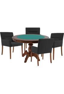 Mesa De Jogos Carteado Redonda Montreal Tampo Reversível Imbuia Com 4 Cadeiras Vicenza Preto Fosco - Gran Belo