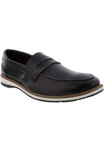 Sapato Social Valença Com Recortes Preto Preto