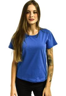 Camiseta Rich Young Baby Look Básica Lisa Malha Azul Royal