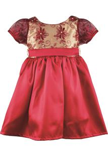 Vestido Digo Bru De Cetim Com Tule Bordado Vermelho
